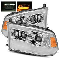 For 09-18 Ram 1500/10-18 2500/3500 Chrome DRL/LED Tube Dual Projector Headlights #RacerInnovation