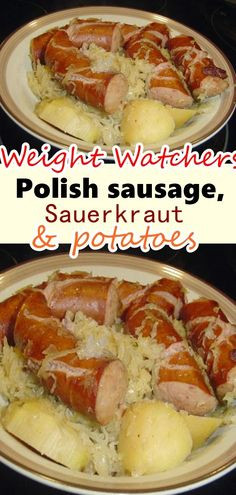 Place sauerkraut and potatoes in slow cooker, add spices, brown sugar and water. Stir in sausage chunks. Cook 4 hours on high or about 6 hours on low or until potatoes are tender. Cook's Note: You can also use pork chops in this recipe. Saurkraut And Sausage, Kilbasa Sausage Recipes, Polish Sausage Recipes, Sausage Crockpot Recipes, Polish Recipes, Crockpot Dishes, Skinny Recipes, Ww Recipes, Low Calorie Recipes