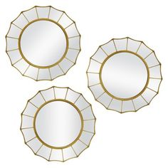 DINING AND DESSERT: Threshold™ Starburst Mirror - 3 Pieces used as trays to house candles, florals, or cake stand