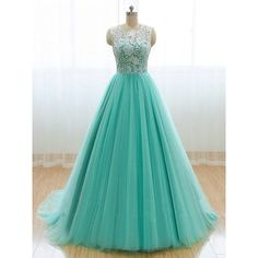Floor Length A-line Mint Green Lace O Neck Prom Dress Charming Party Dress