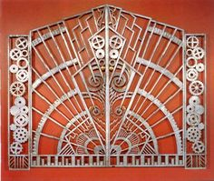 The gate was created by Rene Paul Chambellan and was used in the Chanin building in New York City