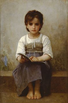 La leçon difficile (The difficult lesson) by William Adolphe Bouguereau    France, 1884  Painting, Oil on canvas  Private collection