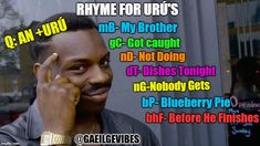 Roll Safe Think About It Meme | RHYME FOR URÚ'S mB- My Brother gC- Got caught nD- Not Doing dT- Dishes Tonight nG-Nobody Gets bP- Blueberry Pie bhF- Before He Finishes @GAE | image tagged in memes,gaeilge,irish,grammar,ireland,school | made w/ Imgflip meme maker