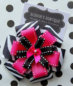 Hot Pink and Black Zebra Triple Layer Bow by BlondiesBowtique