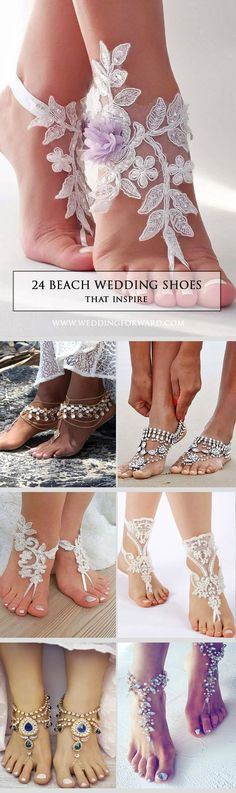 24 Beach Wedding Shoes That Inspire ❤We would like to inspire you with awesome beach wedding shoes. Take a look at this fabulous trend - barefoot sandals with lace, pearls and rhinestones. See more: http://www.weddingforward.com/beach-wedding-shoes/ #wedd