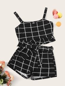 Girls Thick Strap Ruffle Grid Top & Belted Shorts Set - Source by gagokids - Cute Lazy Outfits, Crop Top Outfits, Pretty Outfits, Stylish Outfits, Girls Fashion Clothes, Teen Fashion Outfits, Kids Outfits, Cute Clothes For Girls, Clothes Women