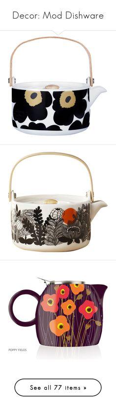 """Decor: Mod Dishware"" by mermaiden ❤ liked on Polyvore featuring home, kitchen & dining, teapots, white teapot, marimekko, black tea pot, white stoneware, marimekko teapot, tea pot and tea-pot"