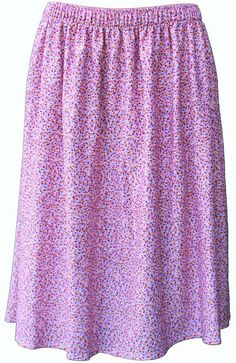 Ladies patterned elasticated waist skirt. Pink ditsy pattern S0917