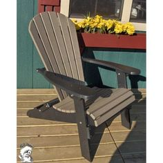 Forever Phat Tommy Two Tone Recycled Folding Adirondack Chair, Black