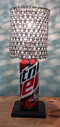 Mountain Dew Code Red Soda Can Lamp with Pull Tab Lamp Shade by LicenseToCraft, $40.00