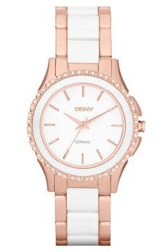 DKNY 'Westside' Round Two Tone Ceramic Bracelet Watch - Nordstrom