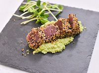 Un souper presque parfait Edamame, Presque Parfait, V Max, Fish Recipes, Herbs, Ethnic Recipes, Limes, Gluten, Tuna Tataki
