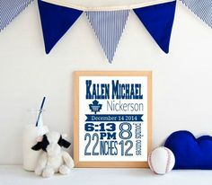 Check out this item in my Etsy shop https://www.etsy.com/ca/listing/254789654/toronto-maple-leafs-hockey-birth-stats birth announcements sports, baseball birth announcements #baby #newborn