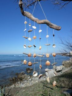 Wind chime dream catcher driftwood seashell twinegift by H2ONDE