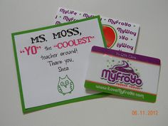 THE COOLEST! ice cream or frozen yogurt gift card. LOVE