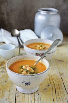 Butternut Squash Soup with Chickpeas, Collard Greens Sprouts & Cumin
