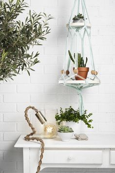 Make hanging holders with macramé www.pandurohobby.com Home Decor by Panduro #DIY #interior #lamp #macrame  #interior #inredning  #ampel #lampa