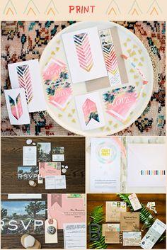 Le mariage Californien, un nouveau style.  Une ambiance col et colorée.  Les invitations sont modernes, on ose la couleurs, les formes géométriques, et les jeux de typographie.  Mademoiselle Claudine