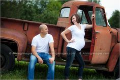 Fun maternity pics with a cool rustic truck on a farm! #vintage