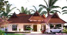 4 bedroom traditional style, nalukettu nadumuttam type Kerala home design by Forms 4 architectural from Kerala. Indian Home Design, Kerala House Design, Simple House Design, Modern House Design, Kerala Traditional House, Double Story House, India House, Free House Plans, Model House Plan