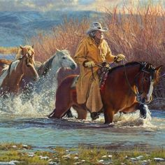 """Yes, it is summer time and we leave winter behind with this beautiful painting """"Leaving Winter Behind"""" 14x22 by Kay Witherspoon from the 2017 NOAPS Online International#figurative #westernpainting #horses #representationalpainting #realism  See upcoming shows at www.noaps.org"""