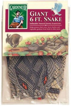 $8.54-$16.99 Natural scarecrow. 6' long, inflatable life like snake. Easy storage in the off season. Repels birds, rabbits, squirrels and other small pests. 1 bushel of produce saved will pay back this small investment. Can be used in gardens and fruit trees. Helps reduce fruit tree and vegetable crop losses by up to 50%. Realistic, 6′ inflatable snake is especially effective against birds. Also  ...