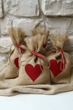 Burlap Gift Bags, Valentines Day, Shabby Chic Wedding, Red Heart, Red and… Valentines Day Decorations, Valentine Day Crafts, Christmas Crafts, Christmas Wrapping, White Christmas, Wedding Decorations, Christmas Tree, Burlap Gift Bags, Wedding Gift Bags