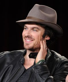 Ian Somerhalder is smoldering under a hat while speaking on stage at The Vampire Diaries panel during the 2015 Winter Television Critics Association press tour at the Langham Huntington Hotel & Spa on Sunday (January 11) in Pasadena, Calif.