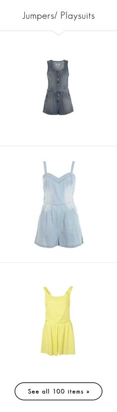 """""""Jumpers/ Playsuits"""" by dragonflyy86 ❤ liked on Polyvore featuring jumpsuits, rompers, romper, playsuit, denim romper, polka dot romper, polka dot rompers, playsuit romper, blue romper and dresses"""