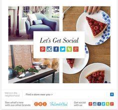 """Еще один совет по email маркетингу уже в эфире, посвященный социальным сетям.  Привлекайте сервисы социальных сетей  Сегодня нельзя недооценивать значимость социальных сетей. В ваших же интересах побуждать читателей делиться вашим контентом. Crate & Barrel предоставляет подписчикам множество способов рассказать об их новостной рассылке.  Материалами Crate & Barrel можно делиться в Pinterest, Instagram, Facebook, Twitter, Houzz и Google+.  Если Вам это нравится, нажимайте """"мне нравится"""" и…"""