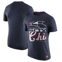 Chicago White Sox Nike Cooperstown Collection Logo Tri-Blend T-Shirt - Heathered Navy - $34.99