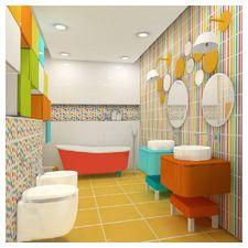 Kolorowa łazienka - projekt wnętrza i wizualizacja Holart Studio