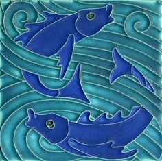 6x6 Fish in Turquoise Cobalt by Motawi Tileworks