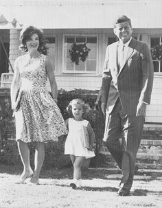 Senator John F. Kennedy (D-Mass.), Democratic presidential candidate, walks across the lawn with his wife Jacqueline and daughter Caroline, 2 1/2, at their Hyannis Port home, July 21, 1960. ♡❀♡❀♡❀♡✿♡❁♡✾♡✽♡   http://en.wikipedia.org/wiki/John_F._Kennedy  http://en.wikipedia.org/wiki/Jacqueline_Kennedy_Onassis http://en.wikipedia.org/wiki/Caroline_Kennedy