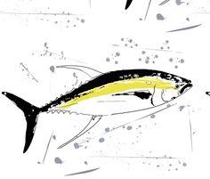 NFSYellowfin Tuna Grey Splash fabric by squidinkdesigns on Spoonflower - custom fabric