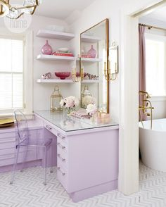 Adjacent shelving with mirrors and acrylic. Clever use of space with plenty of storage - not to mention feminine!