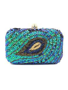 Blue Beaded Sequins Embellished Box Clutch Bag | Choies