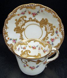 Charming Antique Crown Derby Demitasse Cup & Saucer