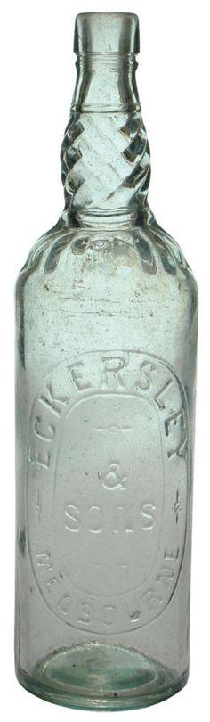 Eckersley & Sons., Melbourne. Barley twist neck. Aqua version. c1910.