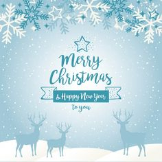 Blue christmas background with silhouettes of reindeers and snowflakes Free Vector