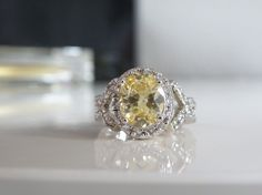 HSN Victoria Wieck Sterling Silver 925 Simulated Yellow Sapphire Absolute Ring 9 #VictoriaWieck #SolitairewithAccents