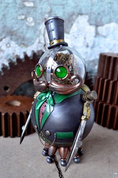 Grock, A Steampunk Robot Toy by Doktor A Phineaus Grock by Bruce Whistlecraft / Doktor A (Scary looking thing, isn't it?)Phineaus Grock by Bruce Whistlecraft / Doktor A (Scary looking thing, isn't it? Robots Steampunk, Steampunk Kunst, Steampunk Gadgets, Steampunk City, Steampunk Images, Steampunk Animals, Cyberpunk, Diesel Punk, Steampunk Accessoires