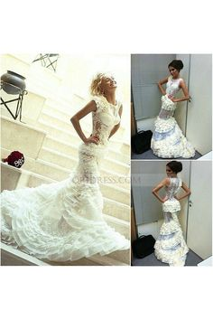 O Neck Organza Court Train White Trumpet Mermaid Prom Evening Dress Os0477. Wedding  Dresses 2014Dresses ... fa95150692e0