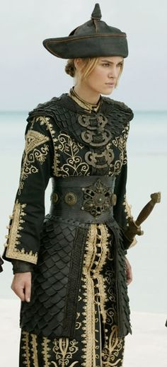 """Keira Knightley - """"Pirates of the Caribbean: At World's End"""" - Costume designer : Penny Rose. This costume has lovely Steampunk touches in the obi-like belt. Keira Knightley, Keira Christina Knightley, Theatre Costumes, Cool Costumes, Ballet Costumes, Larp, Elizabeth Swann Costume, Elisabeth Swan, Medieval Clothing"""