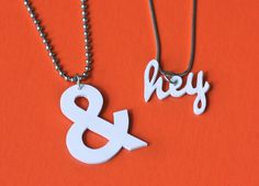 DIY shrink plastic typography pendants