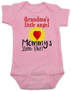 Mommy's little shit, grandma's little angel baby onesie, Little shit baby onsie, funny grandparent b Fall Baby Clothes, Baby Bodysuit, Baby Onesie, Unique Baby Shower, Wishes For Baby, Baby Outfits Newborn, Mom And Baby, Onesies, Aunt Onsies