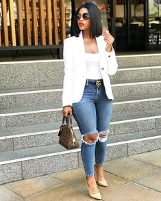 Casual Attires For Creative Ladies – jane doe Casual Attires For Creative Ladies Blue Jean looks classy casual & hip Casual Work Outfits, Business Casual Outfits, Curvy Outfits, Classy Outfits, Stylish Outfits, Summer Outfits, Summer Shorts, Fall Outfits, Black Women Fashion