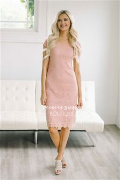 Cute Dusty Rose Lace Modest Dress Bridesmaids Dress, Church Dresses, dresses for church, modest bridesmaids dresses, trendy modest dresses, modest womens clothing, affordable boutique dresses, cute modest dresses, mikarose, trendy modest boutique