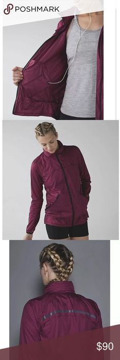 • Lululemon Miss Misty II Jacket • Color: DAPU (DASHING PURPLE MAROON RED) Material : Body: 100% POLYESTER. Lining 2: 89% NYLON; 11% SPANDEX  Stow and go. This lightweight jacket has you covered in less than perfect weather.  Glyde fabrics with perforated panels for ventilation. Wind and water resistant.  Tuck the whole jacket into the left pocket or stow the hood in the zipper collar. Back and chest vents help you cool off.  Customize your fit with hood and hip cinches. Reflective details…