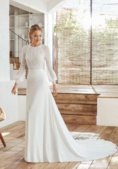 Rosa Clara Boheme 2020 Spring Bridal Collection – The FashionBrides Rosa Clara Wedding Dresses, Black Wedding Dresses, Wedding Dress Sleeves, Wedding Dress Styles, Bridal Dresses, Lace Dress, Modest Wedding Dresses With Sleeves, Vestidos Vintage, Bride